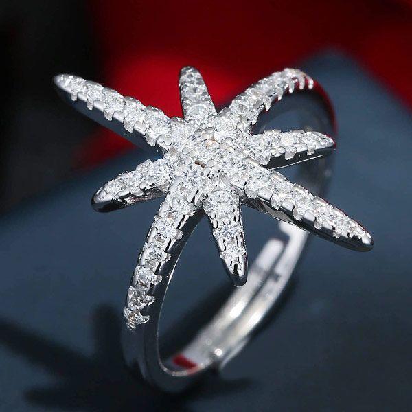 Copper Zircon Ring J Copper Zircon Sun Flower Starfish Ring NHSC188802