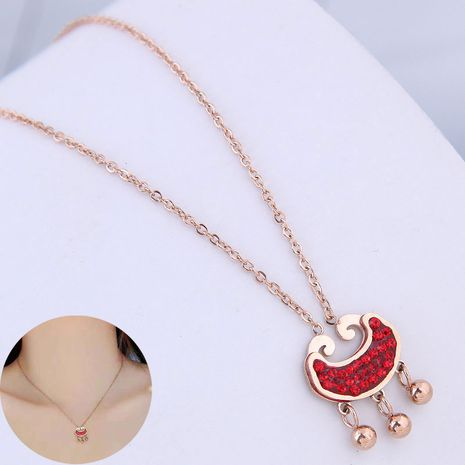 Korean fashion rose gold titanium steel OL sweet and rich lock flash diamond necklace NHSC188792's discount tags