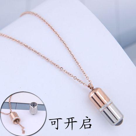 Fashion rose gold titanium steel OL sweet titanium steel necklace NHSC188791's discount tags