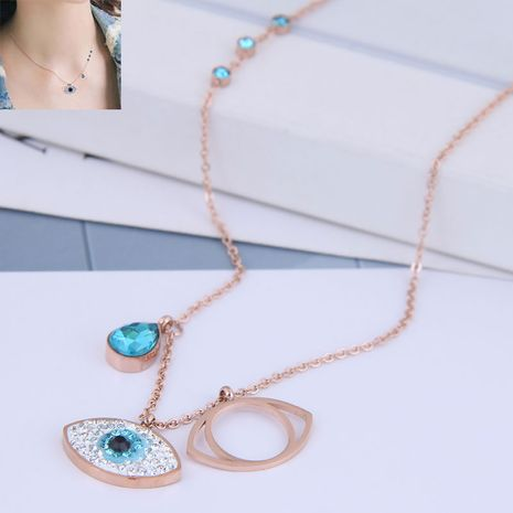 Fashion Rose Gold Titanium Steel OL Devil's Eye Personality Necklace NHSC188790's discount tags