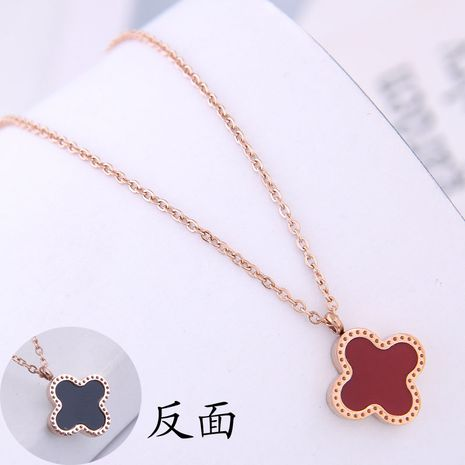 Fashion Rose Gold Titanium Steel OL Sweet Clover Personalized Necklace NHSC188789's discount tags