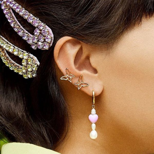 baub with alloy diamond bow earrings fashion street shooting delicate earrings creative jewelry accessories wholesale NHJQ189622