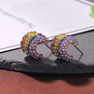 New alloy diamond earrings fashion colorful rhinestone earrings simple earring accessories NHJQ191304's discount tags
