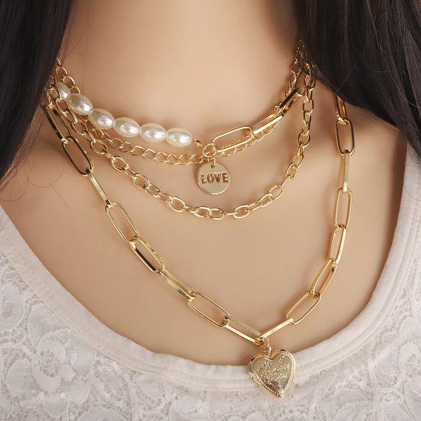 Nueva aleación de perlas collar de múltiples capas collar de moda simple cadena de clavícula NHJQ191301