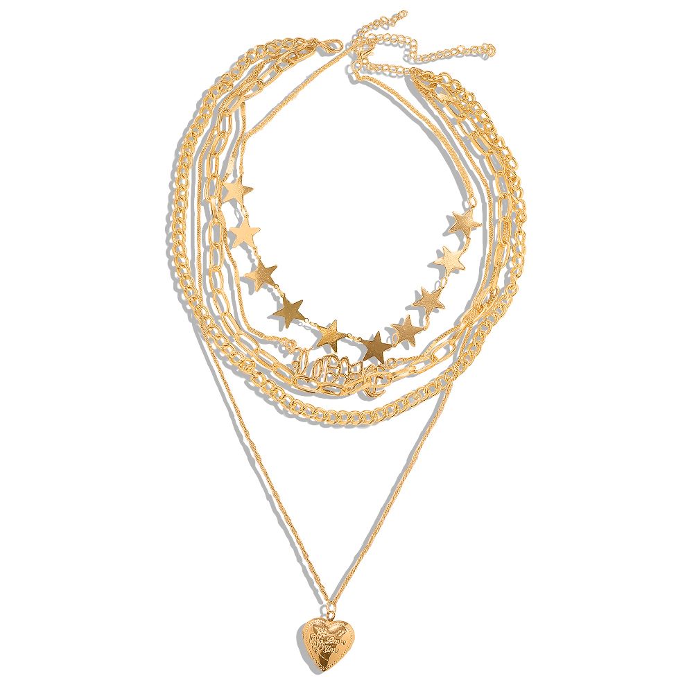 New alloy pearl multilayer necklace fashion necklace simple clavicle chain NHJQ191301