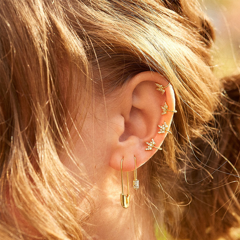 Alloy diamond ear clip Korean new earring fashion earring accessories wholesale NHJQ191298