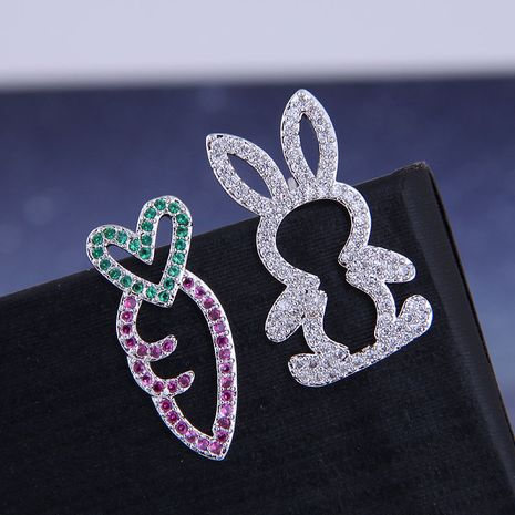 925 Silver Korean Fashion Sweet OL Copper Zirconium Rabbit Radish Asymmetric Stud Earrings NHSC191294's discount tags