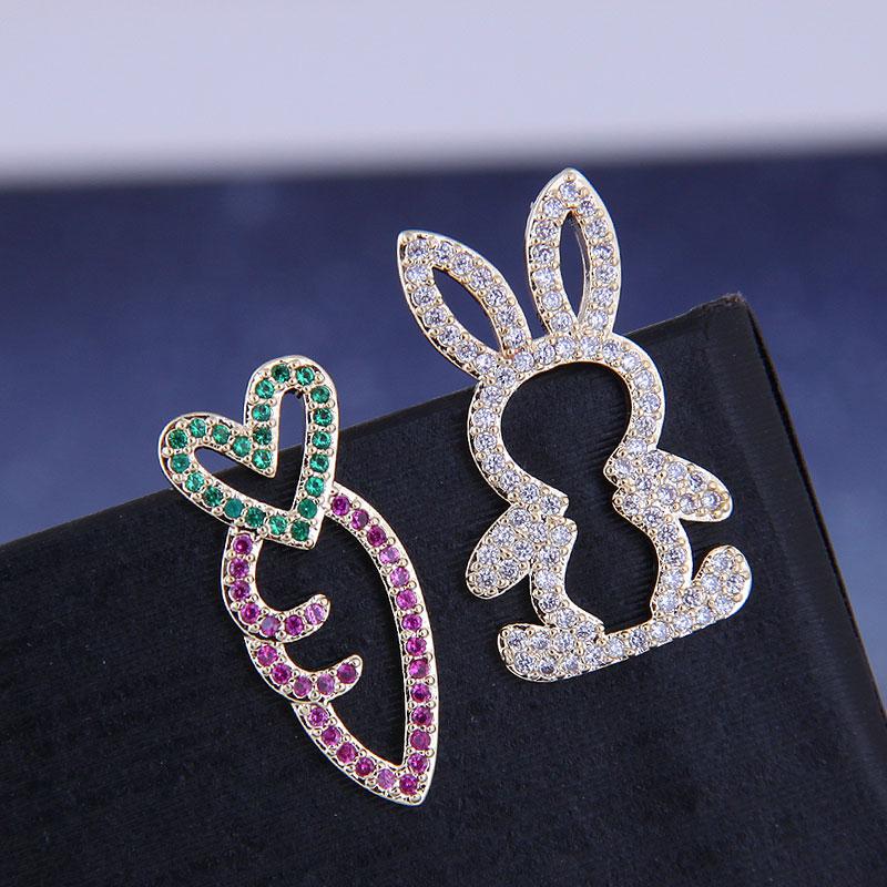 925 Silver Korean Fashion Sweet OL Copper Zirconium Rabbit Radish Asymmetric Stud Earrings NHSC191294