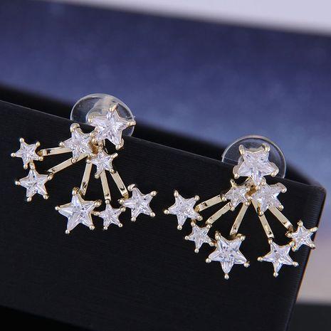 925 Silver Korean Fashion Sweet OL Copper Micro Inlaid Zircon Star Earrings NHSC191293's discount tags