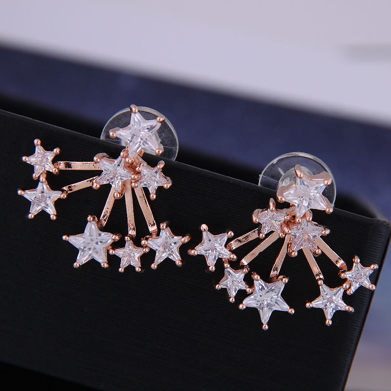 925 Silver Korean Fashion Sweet OL Copper Micro Inlaid Zircon Star Earrings NHSC191293