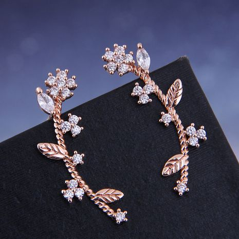 925 Silver Korean Fashion Sweet OL Copper Micro Inlaid Zircon Small Flower Ear Studs NHSC191291's discount tags
