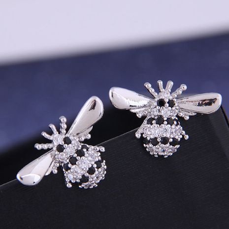 925 Silver Korean Fashion Sweet OL Copper Micro Incrustaciones Zircon Bee Bee Studs NHSC191288's discount tags