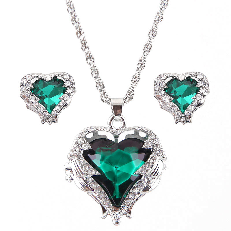 Fashion Metal Angel Love Heart Necklace Earring Set NHSC191286