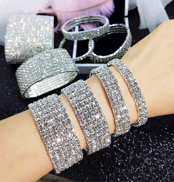 (Seven rows) Korean fashion sweet metal inlaid rhinestone bridal accessories stretch female bracelet NHSC191244