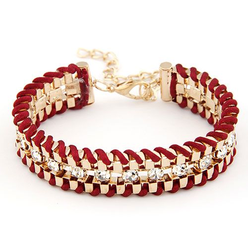 ( wine red ) Occident fashion alloy metal and weave cord gem  bracelet 212070