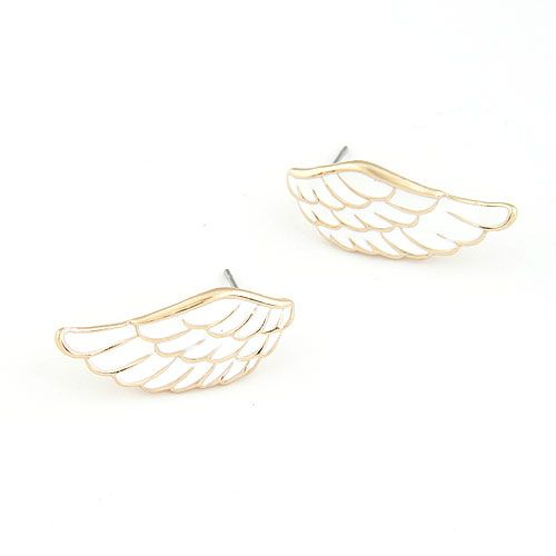 ( wihte ) EXQUISITE Sweet feather wing unique ear studs 211909