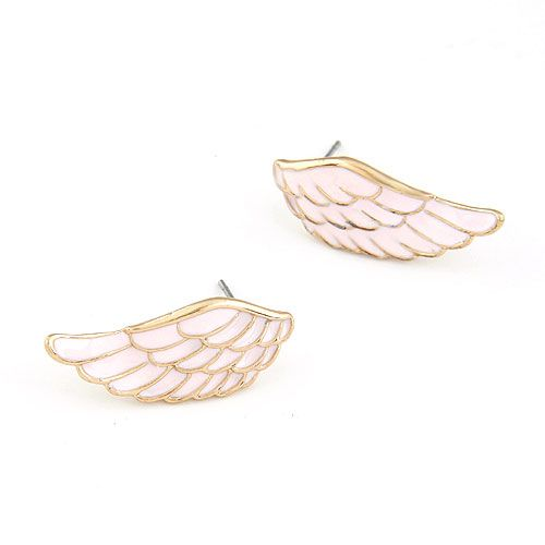 pink  EXQUISITE Sweet feather wing unique ear studs 211911