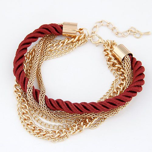 Occident fashion wine red color simple luxury weave multi-layer bracelet 212846