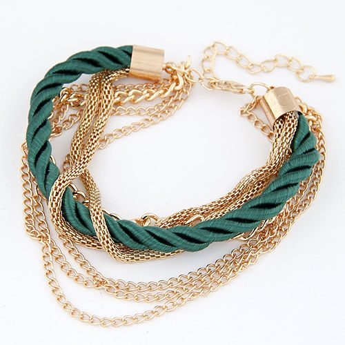 Occident fashion green color simple luxury weave multi-layer bracelet 212847