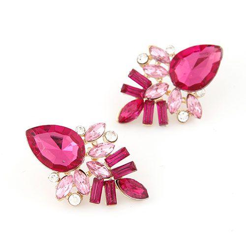 Occident fashion alloyen shining tear drop gem ear studs  rose  212869