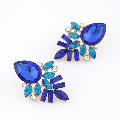 Occident fashion alloyen shining tear drop gem ear studs ( sapphire blue ) 212870