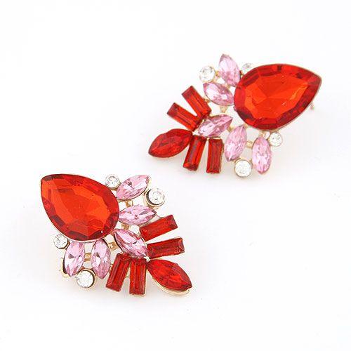 Occident fashion alloyen shining tear drop gem ear studs ( red ) 212871