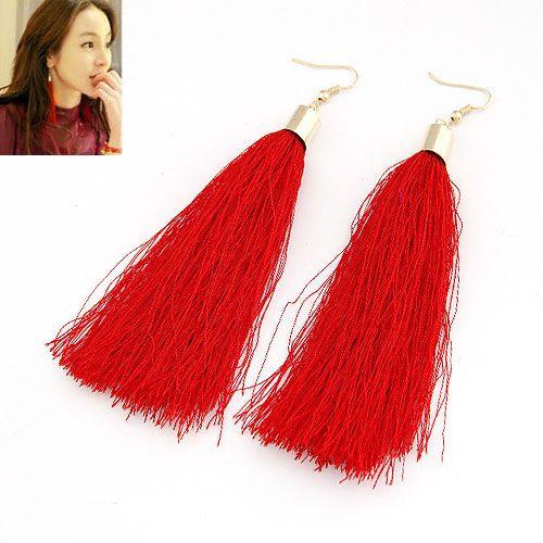 light red  fashion show same design long tassel earrings 212715