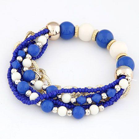 Bohemian style mix style little beads multi-layer bracelet ( blue ) 212703