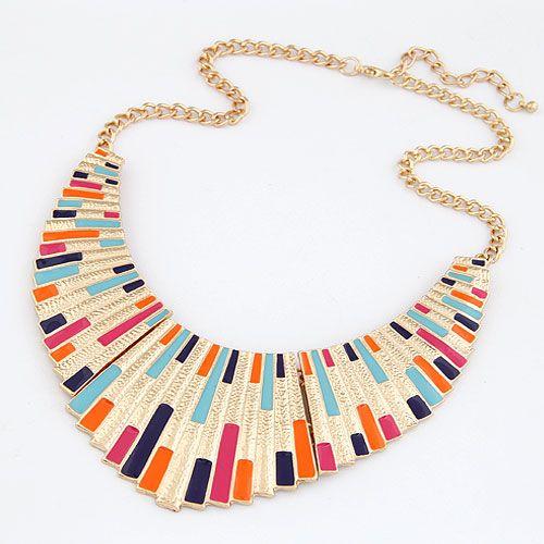 EXQUISITE punk style alloy color metal fan shaped false collar necklace ( random mix color ) 212677