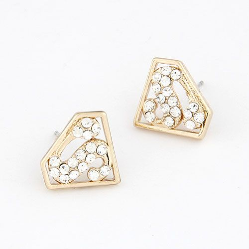 EXQUISITE supar man sletters triangle unique ear studs 212643