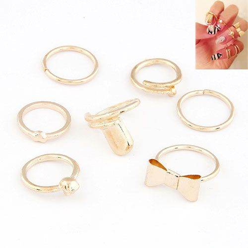 Occident fashion heart bowknot skull joints combination nail ring 212600
