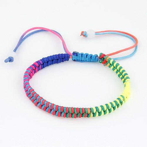 Occident fashion concise weave cord bracelet  mix color  212542