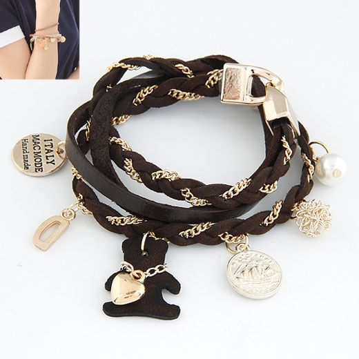 ( deep coffee ) lady wear heart lovely bear multi element easy match leather bracelet 212339
