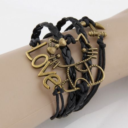 Occident fashion hollow out kitty cat bracelet ( black ) 212143