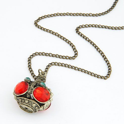 Occident fashion gem embedded Incense burner unique long necklace 212309