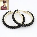 Easy match big hoop Beads ear studs  black  212920