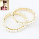 Easy match big hoop Beads ear studs  white  212919