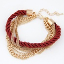 Occident fashion wine red color simple luxury weave multilayer bracelet 212846