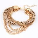 Occident fashion beige gray simple luxury weave multilayer bracelet 212891