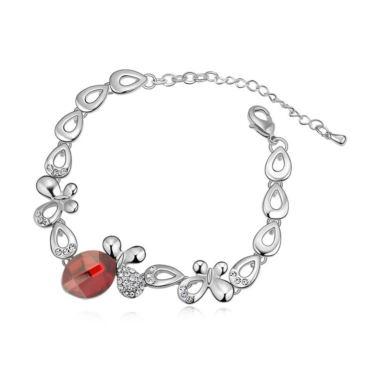 Austrian imitated crystal bracelet - Butterfly fall silent ( Imitated crystal Red Rock ) 11699