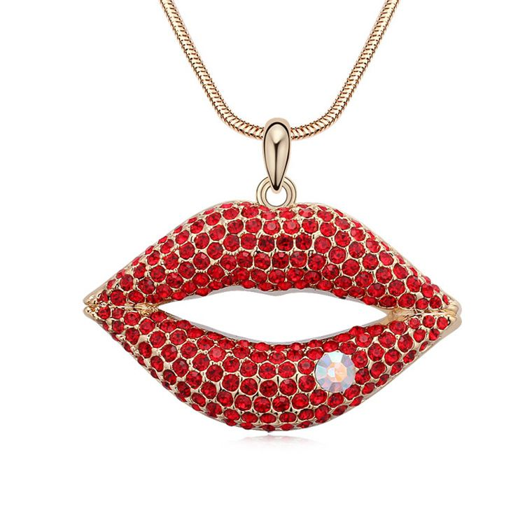 Austrian imitated crystal sweater chain - Love both ends ( Light red + Champagne Alloy ) 11665