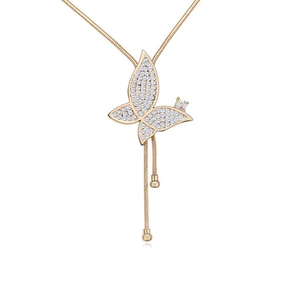 Austrian imitated crystal sweater chain - Butterfly Blooms ( White + Champagne Alloy ) 11663