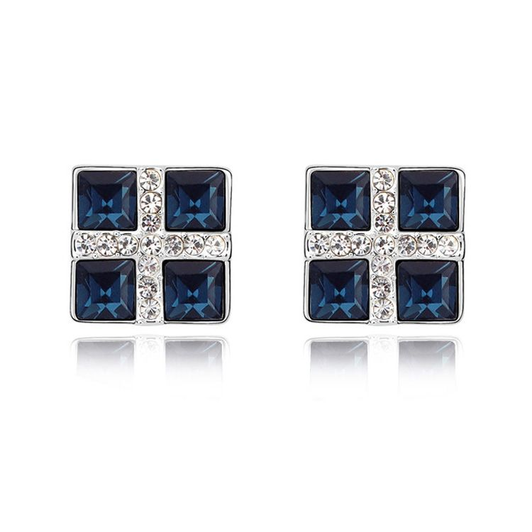 Austrian imitated crystal earrings - Color space ( Blue ink ) 11639