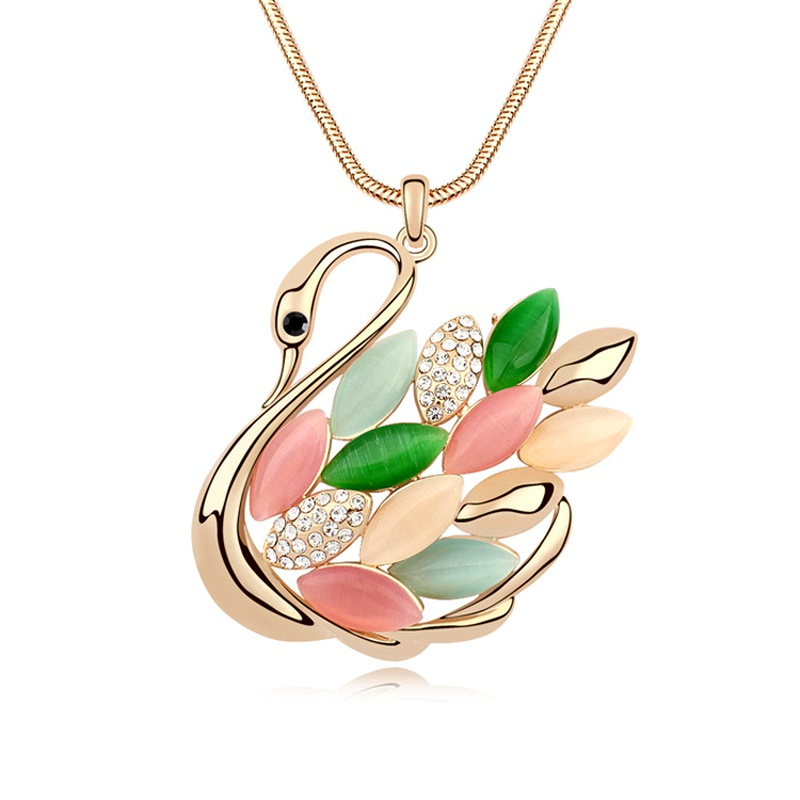 Alloy  Swan Lake opal sweater chain  Color + Champagne Alloy  11463