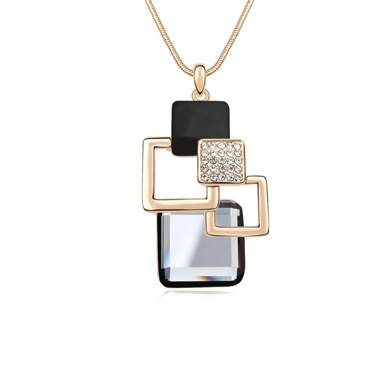 Alloy  Cube station boutique sweater chain  Black Rhinestone + Champagne Alloy  11470