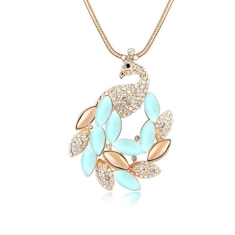 Alloy - Beautiful peacock sweater chain opal ( Light Blue + Champagne Alloy ) 11457