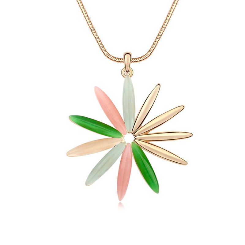 Alloy - Flowers comfortable sweater chain opal ( Color + Champagne Alloy ) 11453