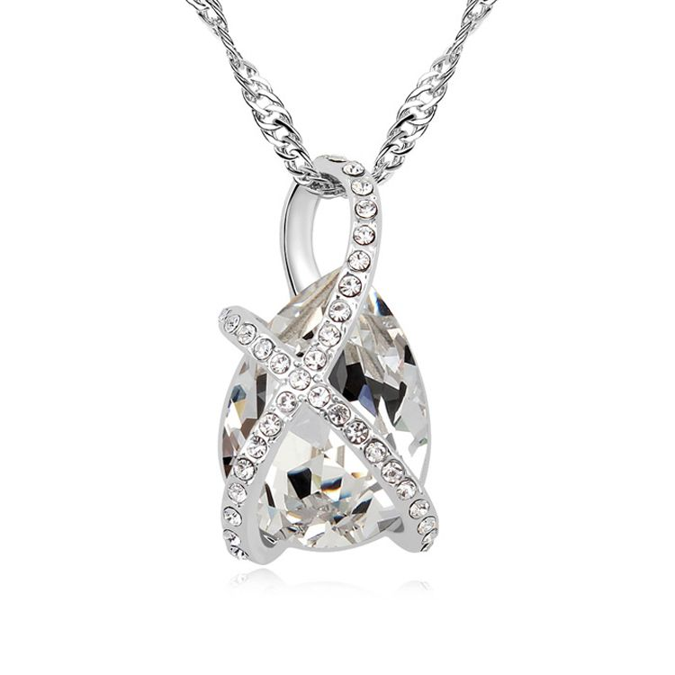 Austrian imitated crystal necklace  Staggered love  White  11352