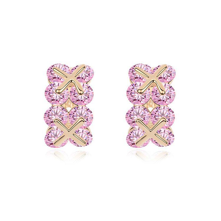 Alloy  Yuemanxilou zircon earrings  Pink  11254