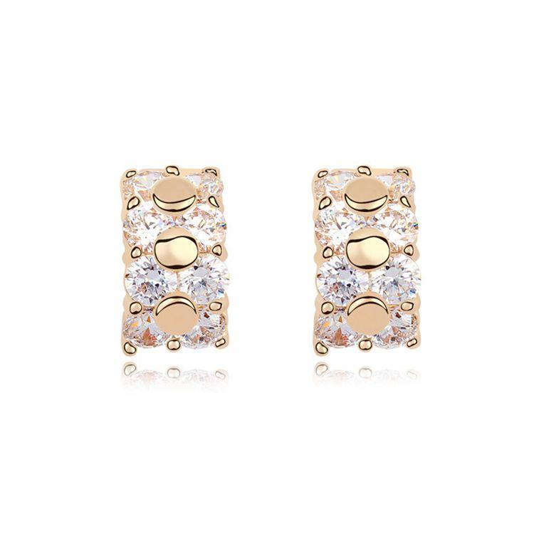 Alloy - Infinite beauty zircon earrings ( White ) 11250